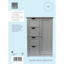 4 Drawer 1 Door Bathroom Cabinet Grey