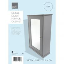 Single Door Mirror Cabinet Grey