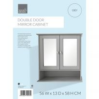 Double Door Mirror Cabinet Grey
