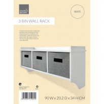3 Hook Wall Mounted Coat Rack W/ Storage