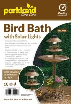 Bird Bath With Solar Lights - Bronze