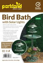 Bird Bath With Solar Lights - Green