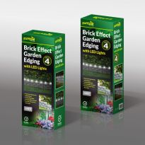 4Pk Brick Effect Garden Edging With Led Light - Grey