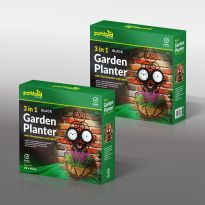 3 In 1 Planter With Thermometer and Clock - Black