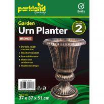 2 Garden Urn Planters - Bronze