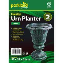2 Garden Urn Planters - Green