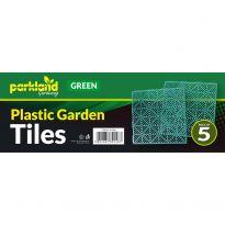 5 Pk Plastic Garden Tiles - Green