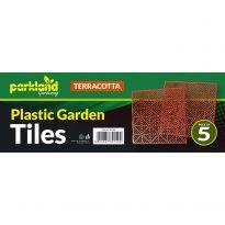 5 Pk Plastic Garden Tiles - Terracotta