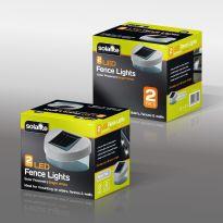 2Pk Solar Fence Lights - Silver