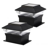 Black - 2 Pack Solar Deck Cap Lights