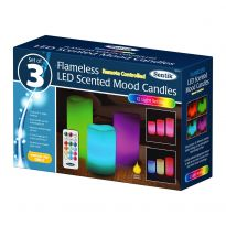 3Pk Flameless Candle With Remote Control - Colour Changing