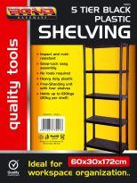 5 Tier Plastic Shelving - Black