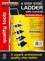 4 Step Steel Ladder With Handrail