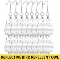 16Pk Mirror Stainless Steel Bird Repellent Owl Shape Disks